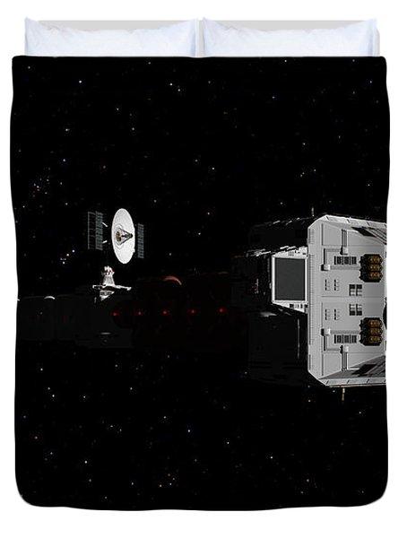Spaceship Uss Cumberland Traveling Through Deep Space Duvet Cover