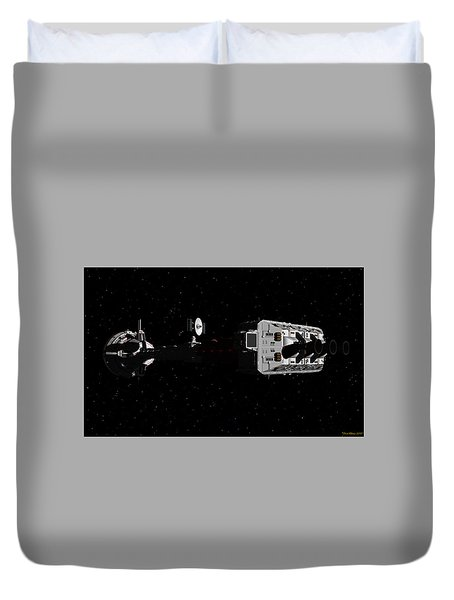 Spaceship Uss Cumberland Traveling Through Deep Space Duvet Cover by David Robinson