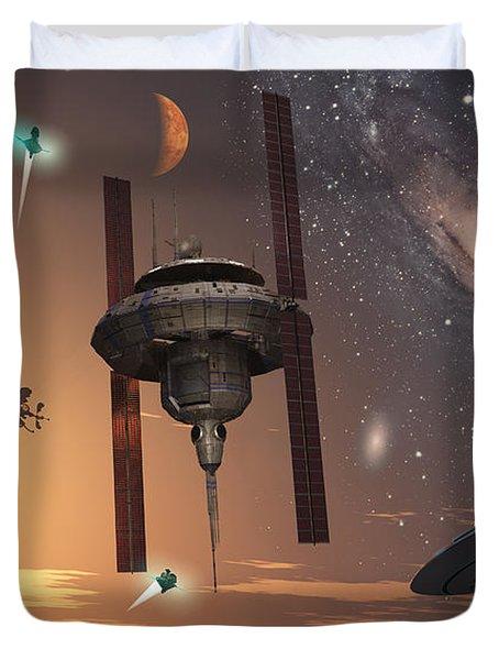 Spaceships Used By Different Alien Duvet Cover by Mark Stevenson