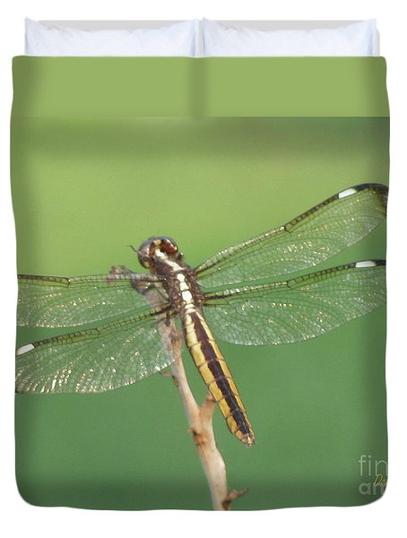 Duvet Cover featuring the photograph Spangled Skimmer Dragonfly Female by Donna Brown