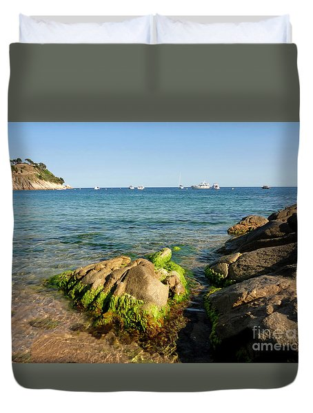 Duvet Cover featuring the photograph Spanish Beach by Gregory Dyer