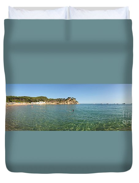 Duvet Cover featuring the photograph Spanish Beach Seascape by Gregory Dyer