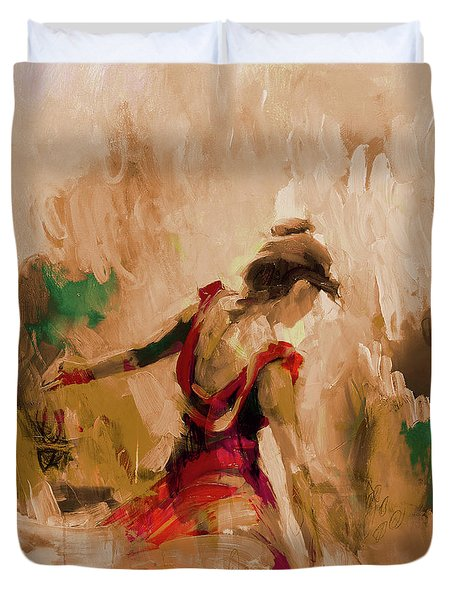 Duvet Cover featuring the painting Spanish Dance Culture  by Gull G