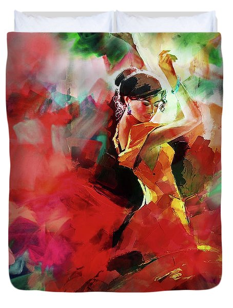 Duvet Cover featuring the painting Spanish Dance by Gull G
