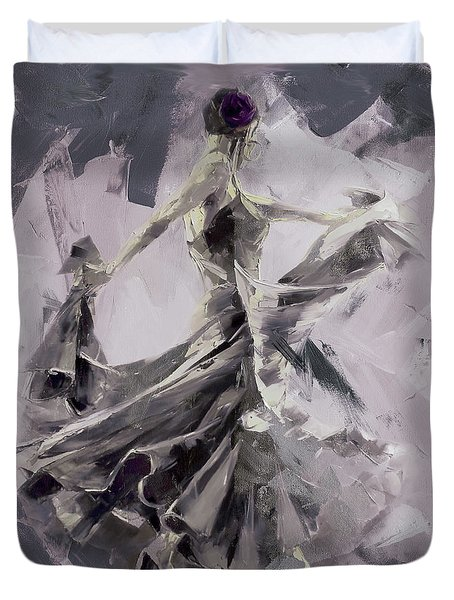 Duvet Cover featuring the painting Spanish Dance Painting 03 by Gull G