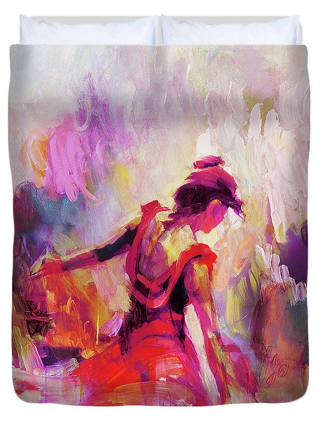 Duvet Cover featuring the painting Spanish Female Art 0087 by Gull G