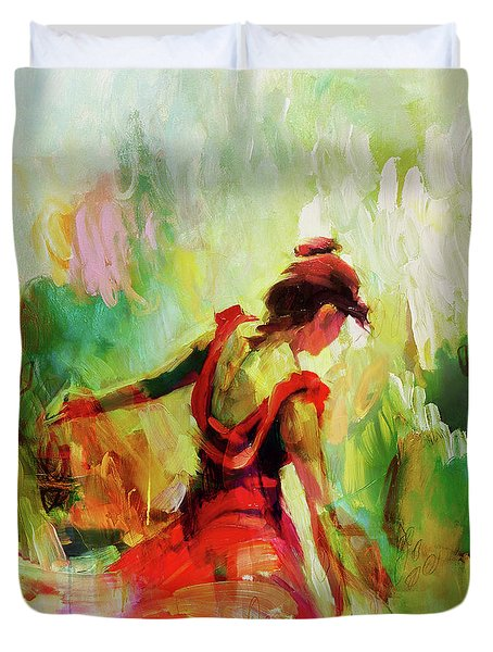 Duvet Cover featuring the painting Spanish Female Art 56y by Gull G