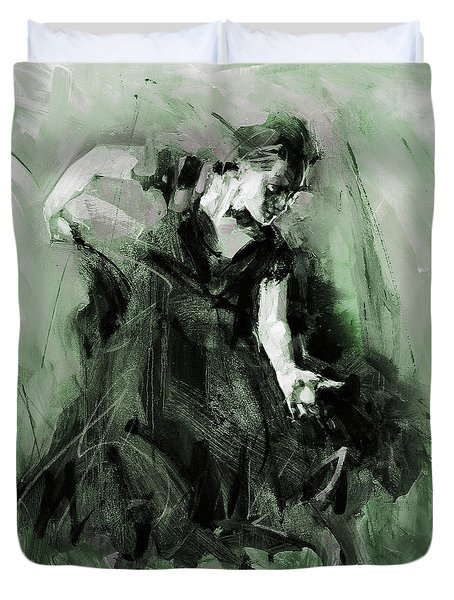 Duvet Cover featuring the painting Spanish Flamenco Dancer by Gull G