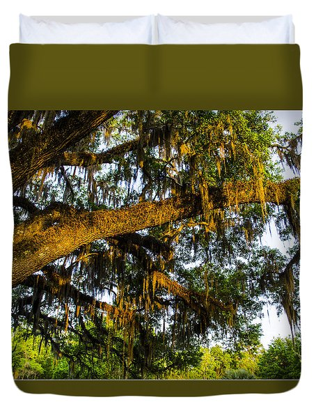 Duvet Cover featuring the photograph Spanish Moss In The Gloaming by Deborah Smolinske