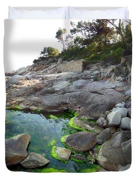 Spanish Seascape Duvet Cover