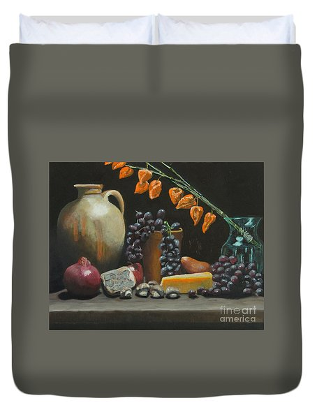 Spanish Urn And Japanese Lantern Duvet Cover