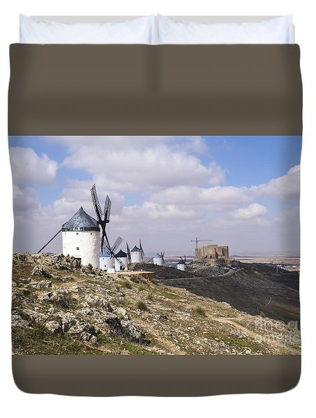 Spanish Windmills And Castle Of Consuegra Duvet Cover