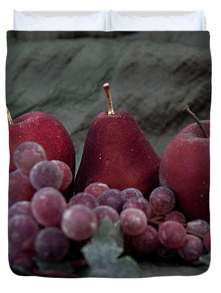Duvet Cover featuring the photograph Sparkeling Fruits by Sherry Hallemeier