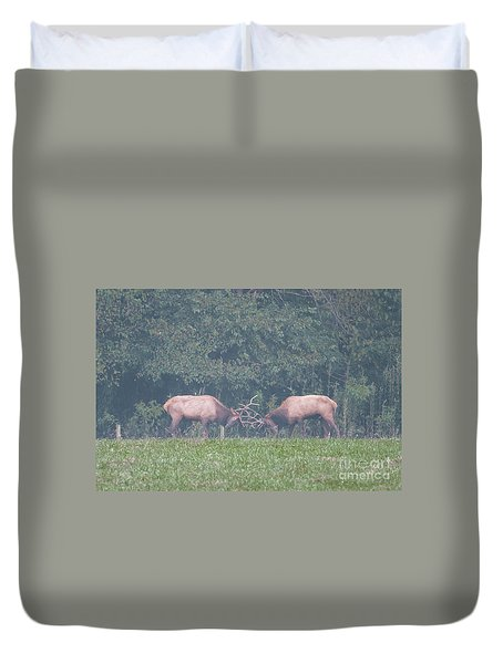 Sparking Elk On A Foggy Morning - 1957 Duvet Cover