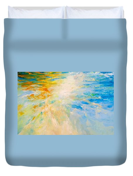 Duvet Cover featuring the painting Sparkle And Flow by Dina Dargo