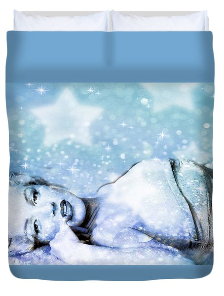 Duvet Cover featuring the digital art Sparkle Queen by Greg Sharpe
