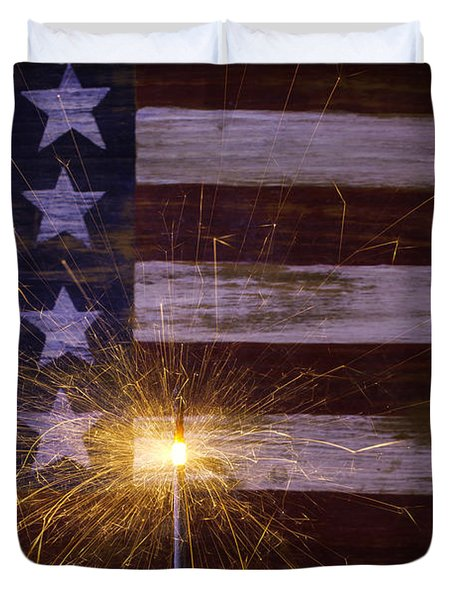 Sparkler With American Flag Duvet Cover