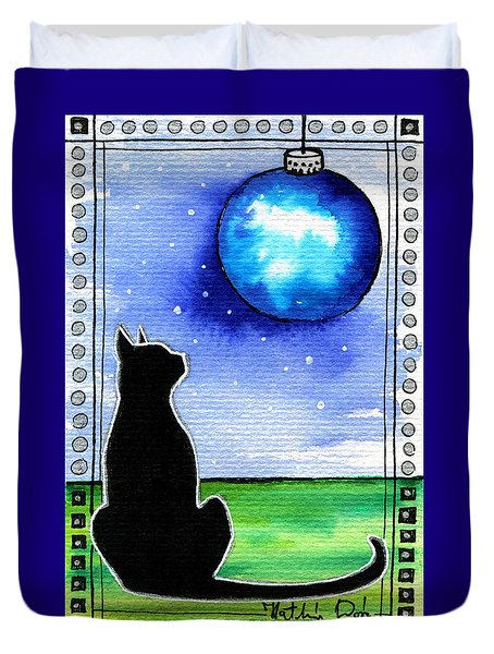 Sparkling Blue Bauble - Christmas Cat Duvet Cover