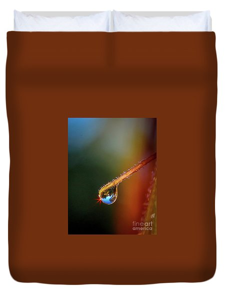 Duvet Cover featuring the photograph Sparkling Drop Of Dew by Tom Claud