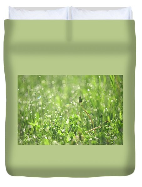 Sparkling Morning. Green World Duvet Cover by Jenny Rainbow