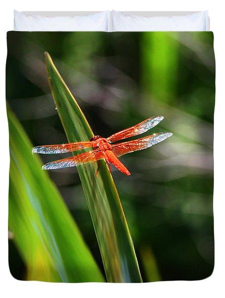 Sparkling Red Dragonfly Duvet Cover