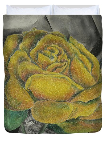 Duvet Cover featuring the painting Sparkling Rose by Miriam Shaw