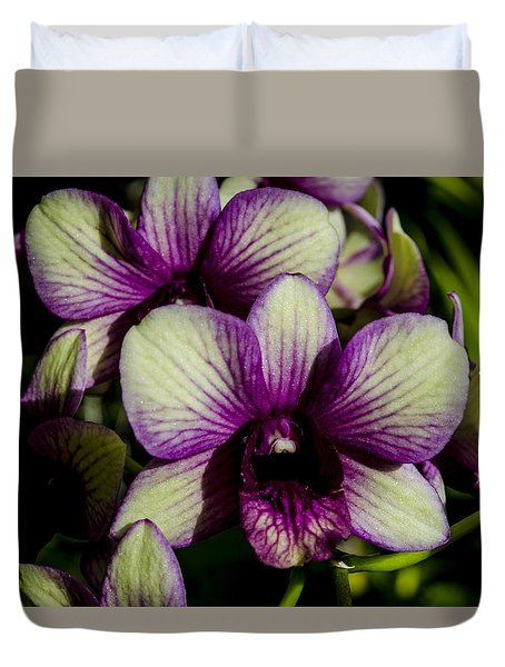Duvet Cover featuring the photograph Sparkly Moth Orchid by Deborah Smolinske