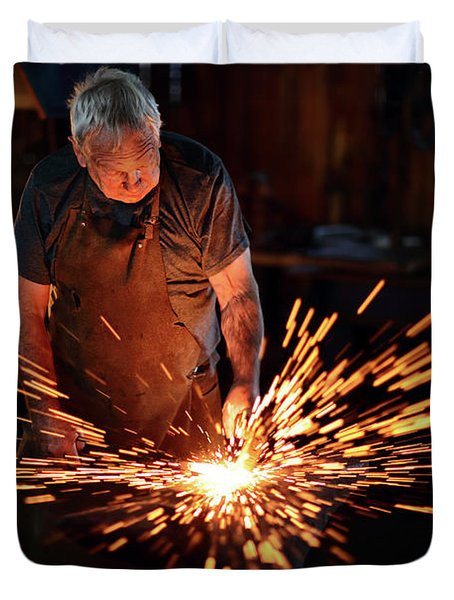Sparks When Blacksmith Hit Hot Iron Duvet Cover