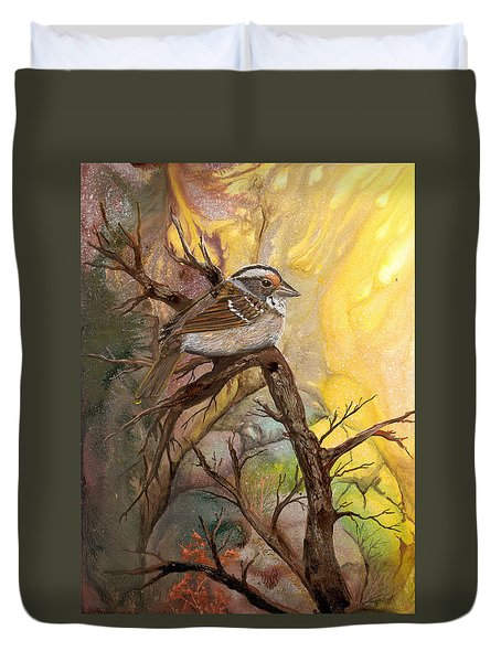 Duvet Cover featuring the painting Sparrow by Sherry Shipley