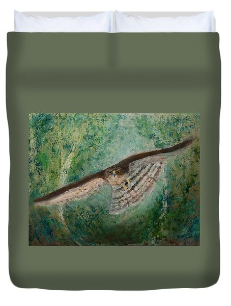 Sparrowhawk Hunting Duvet Cover