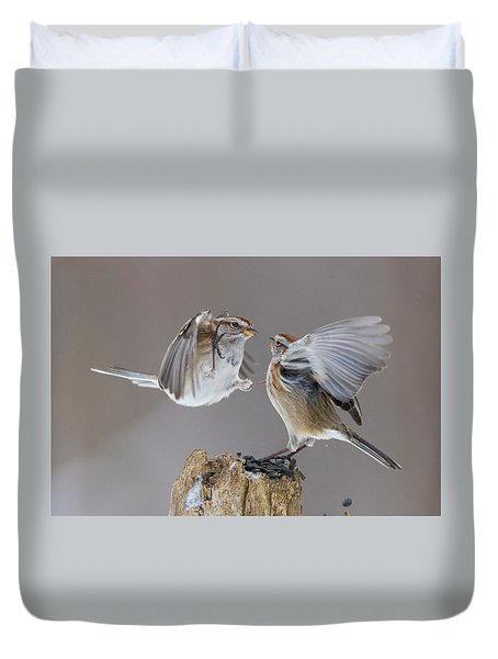 Duvet Cover featuring the photograph Sparrows Fight by Mircea Costina Photography