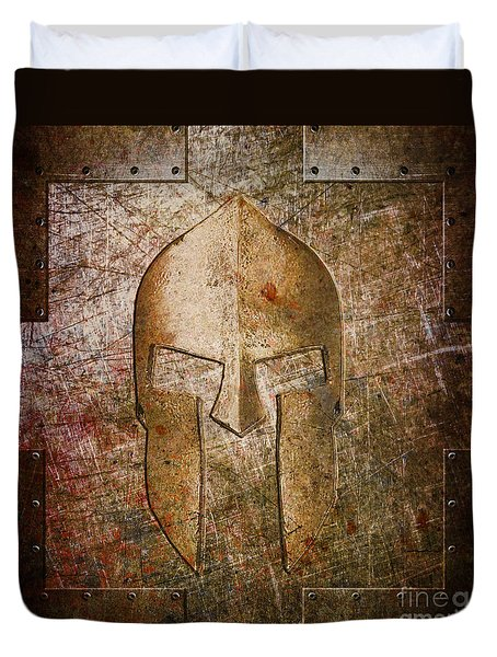 Spartan Helmet On Metal Sheet With Copper Hue Duvet Cover