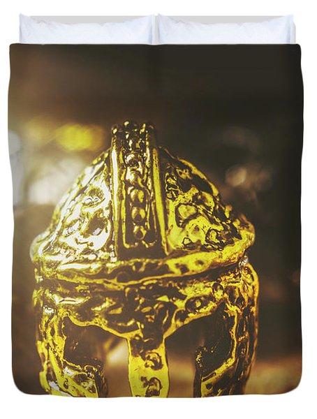 Spartan Military Helmet Duvet Cover