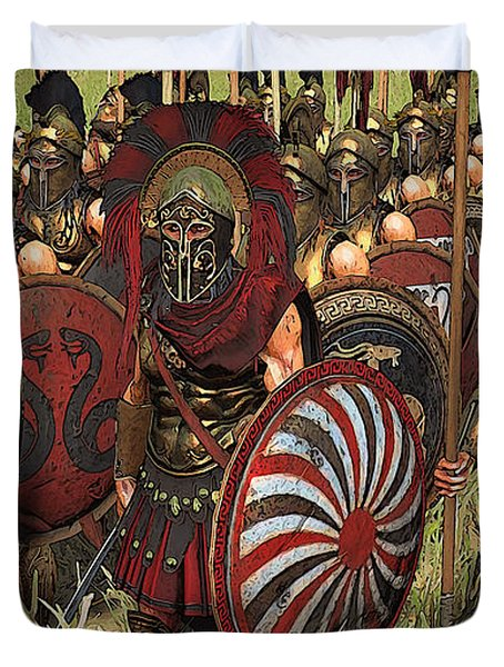 Spartan Warriors Before The Battle Duvet Cover