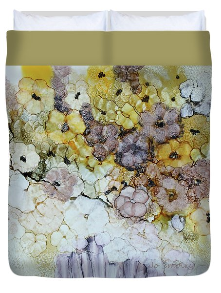 Duvet Cover featuring the painting Spash Of Sunshine by Joanne Smoley