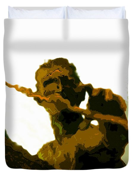 Spearfishing Man Duvet Cover by David Lee Thompson