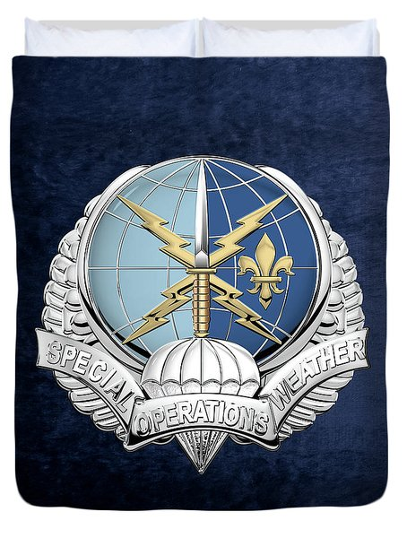Special Operations Weather Team -  S O W T  Badge Over Blue Velvet Duvet Cover by Serge Averbukh