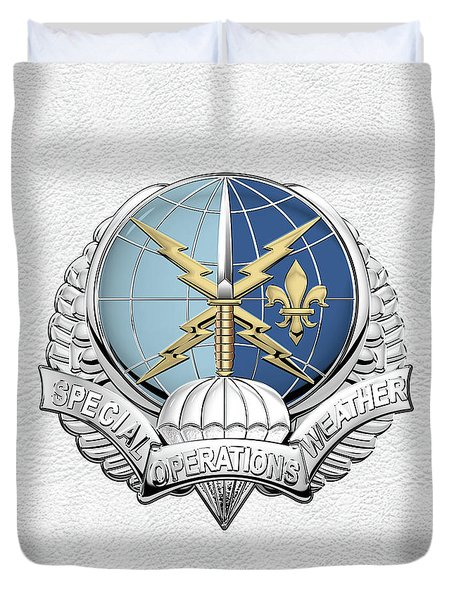 Special Operations Weather Team -  S O W T  Badge Over White Leather Duvet Cover by Serge Averbukh