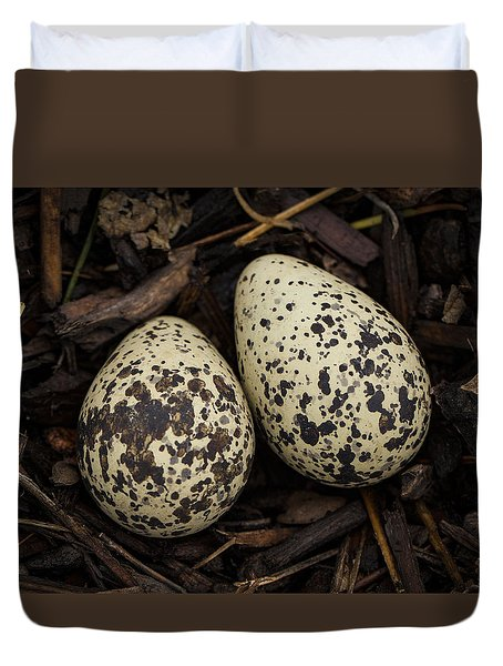 Speckled Killdeer Eggs By Jean Noren Duvet Cover