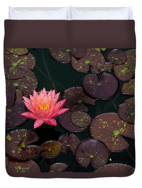 Speckled Red Lily And Pads Duvet Cover