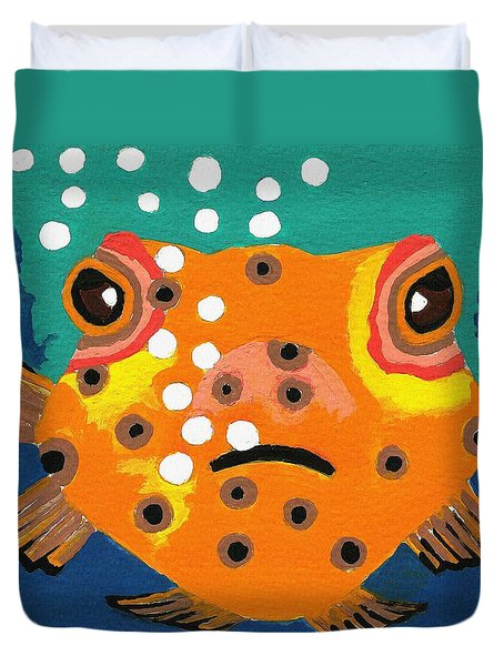 Duvet Cover featuring the painting Speckles by Kathleen Sartoris