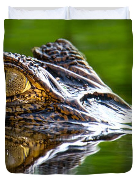Spectacled Caiman Caiman Crocodilus Duvet Cover by Panoramic Images