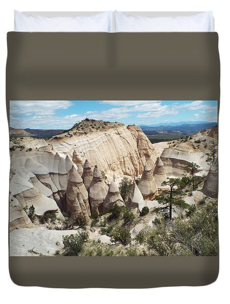 Spectacular Slot Canyon Trail View-at-the-top Duvet Cover by Cindy Croal
