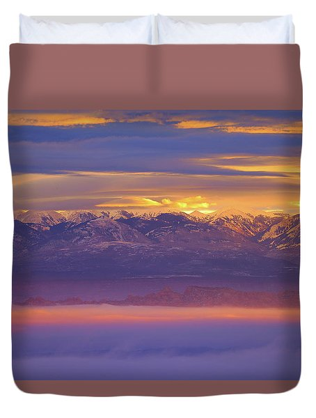 Spectacular Surnise Of The La Sal Mountains From Dead Horse Point State Park Duvet Cover