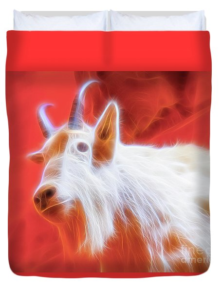 Duvet Cover featuring the digital art Spectral Mountain Goat by Ray Shiu