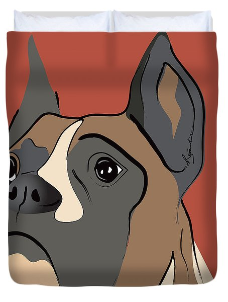 Spencer Boxer Dog Portrait Duvet Cover