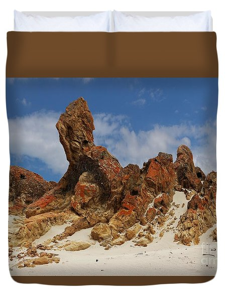 Duvet Cover featuring the photograph Sphinx Of South Australia by Stephen Mitchell