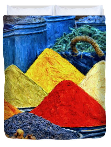 Spice Market In Casablanca Duvet Cover