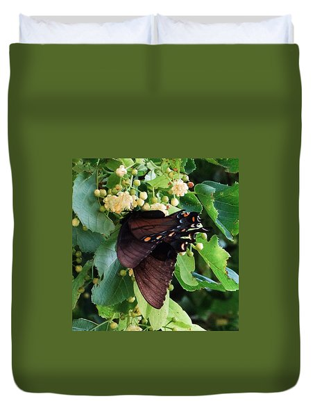Duvet Cover featuring the photograph Spicebush Swallowtail Luck by J L Zarek