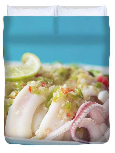Spicy Food, Steamed Squid Duvet Cover